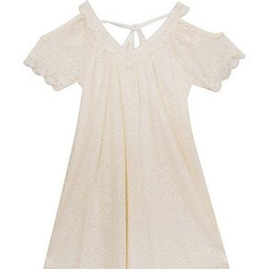 Rare Editions Crochet Dress Ivory Size 14